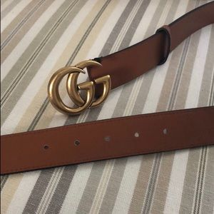 GG GUCCI BELT BROWN LEATHER DOUBLE G BUCKLE THICK